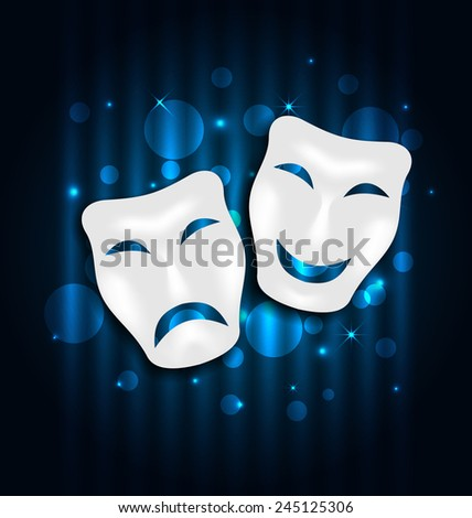 Illustration comedy and tragedy theatre masks on blue shimmering  background - vector - stock vector