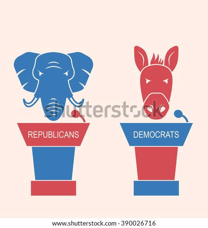 Illustration Concept of Debate Republicans and Democrats. Donkey and Elephant as a Orators Symbols Vote of USA. Retro Style Design - Vector - stock vector