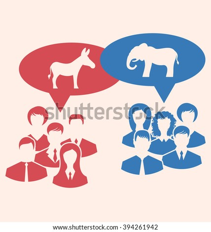 Illustration Concept of Debate Republicans and Democrats. Donkey and Elephant as a Symbols Vote of USA. Retro Style Design - Vector - stock vector