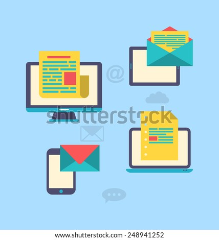 Illustration concept of email marketing via electronic gadgets - newsletter and subscription, flat trendy icons - vector - stock vector