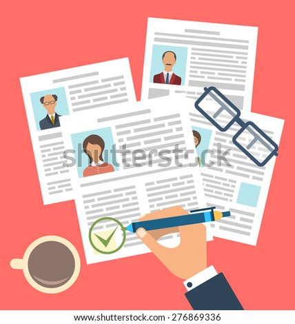 Illustration Concept of Human Resources Management, Finding Professional Staff, Flat Simple Icons - Vector - stock vector