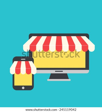 Illustration concept of on line shop, e-commerce, flat icons style of computer and mobile phone - vector - stock vector