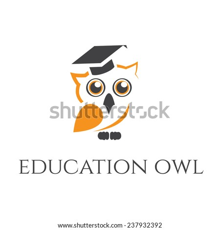 Illustration concept of owl in graduate hat . Vector - stock vector