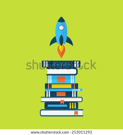 Illustration concept of start up idea, flat icons of heap textbooks and rocket - vector - stock vector