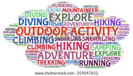 Illustration concept or conceptual of outdoor activity text word cloud tagcloud isolated on white background.