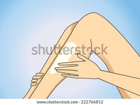 Illustration concerned with women hand put on some body lotion to leg  - stock vector