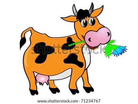 illustration cow with flower is insulated on white - stock vector