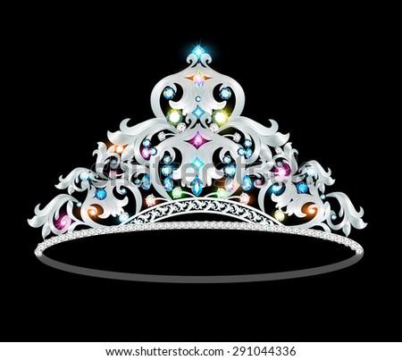 illustration crown tiara women with glittering precious stones - stock vector