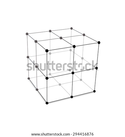 Illustration Cube Made is Mesh Polygonal Element Connected Lines and Dots - Vector