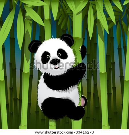 illustration, curious panda on stem of the bamboo - stock vector