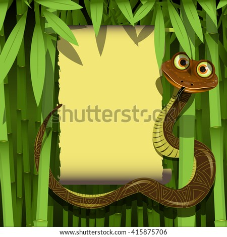 Illustration cute boa in the tropical bamboo forest - stock vector