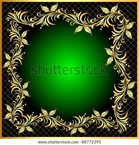 illustration decorative frame background with gold(en) pattern with net