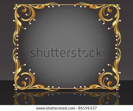 illustration decorative frame with pattern gold pearl - stock vector