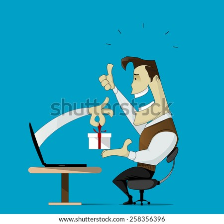 Illustration depicting a productive and successful on-line store - stock vector