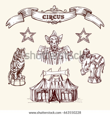 illustration depicting clown circus animals circus stock