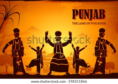 illustration depicting the culture of Punjab, India - stock vector