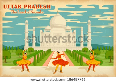 illustration depicting the culture of Uttar Pradesh, India - stock vector