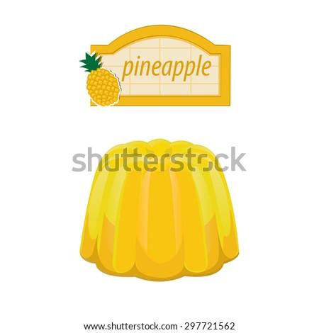 illustration. dessert fruit jelly 2 - stock vector