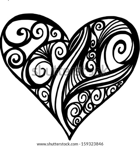 Illustration Doodle of a Filigree Heart - stock vector