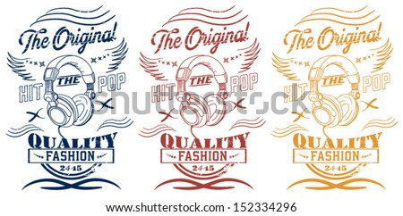 illustration drawing headphone college with vector type - stock vector