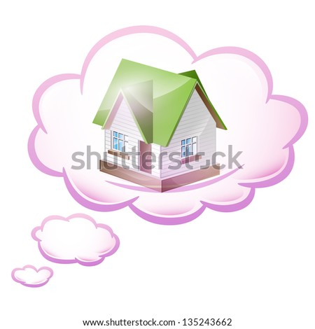Illustration dream of their own home. Vector