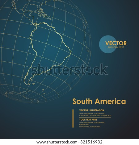 Illustration Earth map of South America. Modern business line vector background - stock vector