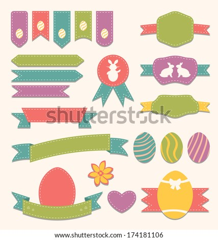 Illustration Easter scrapbook set - labels, ribbons and other elements (3) - vector - stock vector