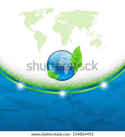 Illustration eco background with earth map and environment symbol - vector