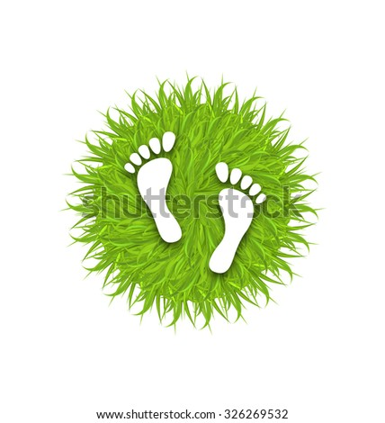 Illustration Eco Friendly Footprints on Green Grass, Concept of Green Earth - Vector - stock vector