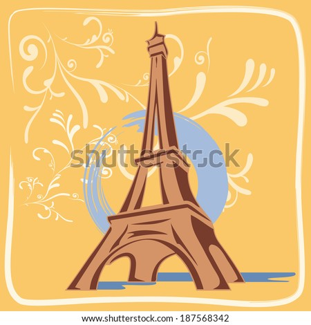 Illustration Eiffel Tower with Flowers on Background - stock vector