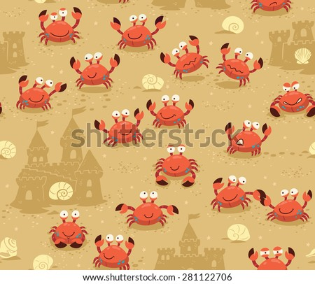 Illustration endless background with crabs. Vector backdrop - stock vector