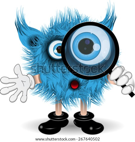 illustration fairy shaggy blue monster with a magnifying glass - stock vector
