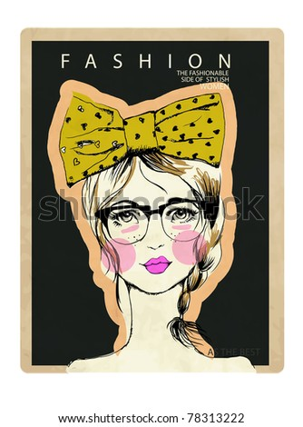 illustration fashion portrait girl with ribbon - stock vector