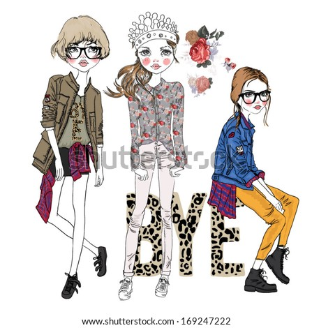 illustration fashion sketch trend girl - stock vector