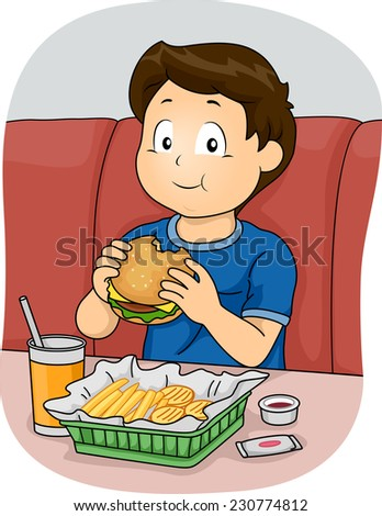 Illustration Featuring a Boy Eating Fast Food - stock vector
