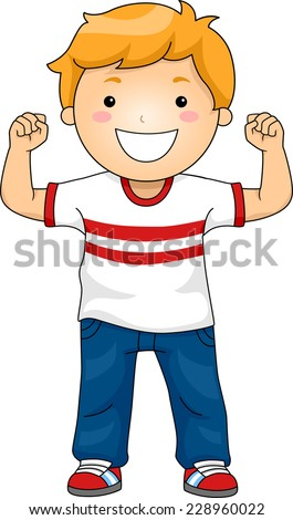 Illustration Featuring a Boy Flexing His Muscles to Demonstrate His Strength - stock vector