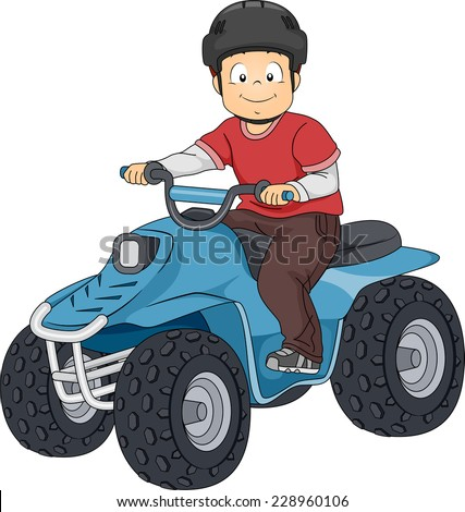 Illustration Featuring a Boy Riding an All Terrain Vehicle - stock vector