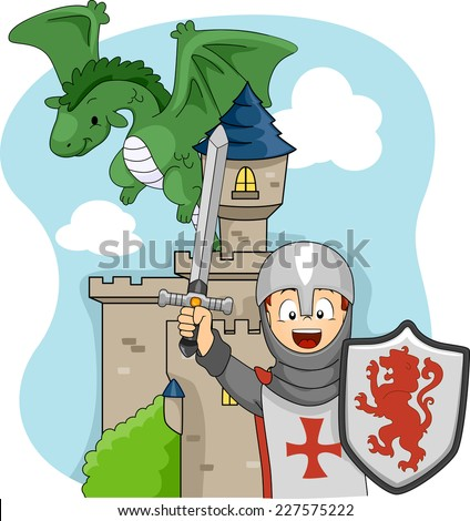 Illustration Featuring a Boy Wearing a Knight Costume - stock vector