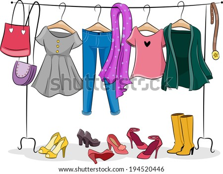 Illustration Featuring a Clothing Rack Full of Female Clothing - stock vector