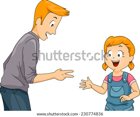 Illustration Featuring a Father and Daughter Playing Rock, Paper, and Scissors - stock vector