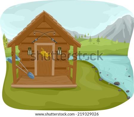 Illustration Featuring A Fishing Cabin Near Lake