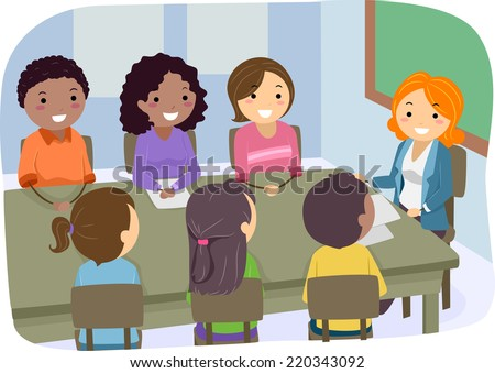 Illustration Featuring a PTA Meeting - stock vector