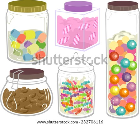 Illustration Featuring a Wide Variety of Candies in Fancy Bottles and Jars - stock vector