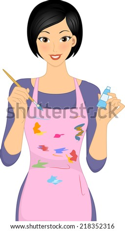 Illustration Featuring a Woman Holding a Paintbrush and a Tube of Paint - stock vector