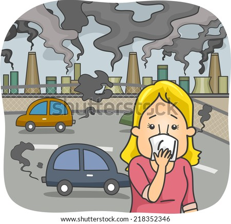 Illustration Featuring a Woman in a Polluted City Covering Her Nose - stock vector
