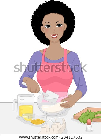 Illustration Featuring a Woman Mixing Baking Ingredients in a Bowl - stock vector
