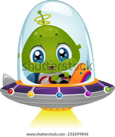 Illustration Featuring an Alien Boy Using His Spaceship's Light Beam - stock vector