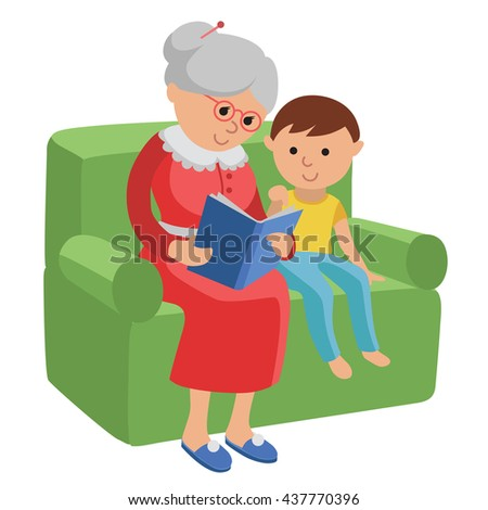 Illustration featuring an elderly woman reading a book for grandson. Vector illustration in flat style of elderly woman sitting in a chair at home reading a book for boy.