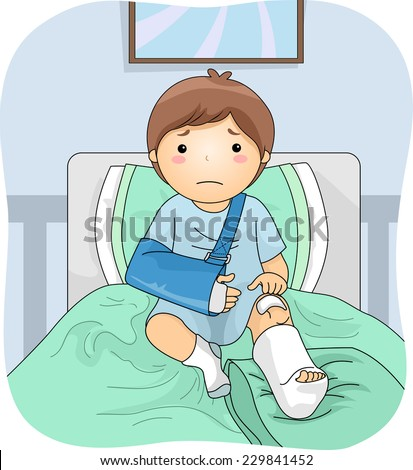 Illustration Featuring an Injured Boy Wearing a Leg Cast - stock vector