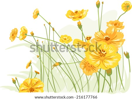 Illustration Featuring Colorful Wild Flowers